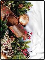 カーペット ギフトプレゼント 薄型 床マット 180*250 クリスマスの長方形の敷物子供の家の装飾の敷物松ぼっくりガーランド 春夏 防ダニ・抗菌・防臭加工 応接室
