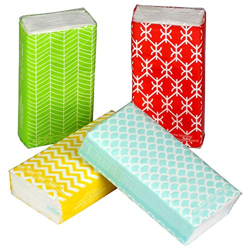 Pocket Sized Travel Facial Tissue 8 Packets, 72 Sheets, Geometric Print