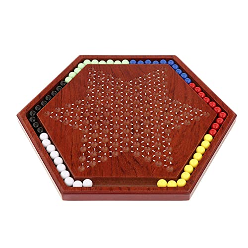 Tachiuwa 中国のチェッカーセット、木の板&60ピースの多色の大理石、家族子供&大人のテーブルゲーム - スロットアクリル大理石