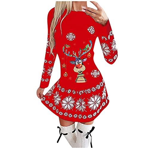Vestido de manga larga para mujer, para otoño e invierno, estilo informal, rojo, M-36/38/40
