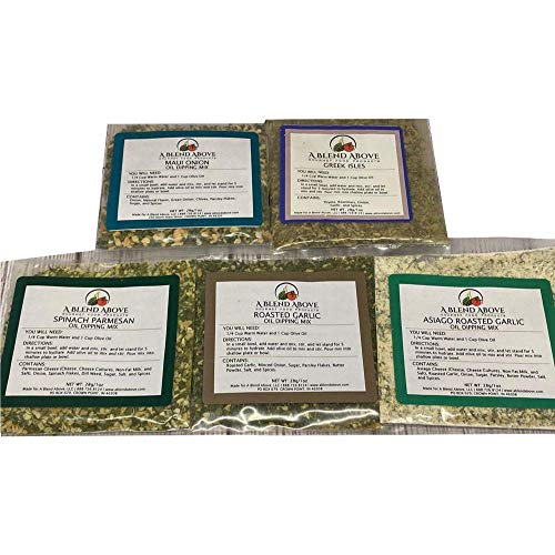 A Blend Above Olive Oil Dipping Mix, Best Sellers - Maui Onion, Greek Isles, Spinach Parmesan, Roasted Garlic, Asiago Roasted Garlic