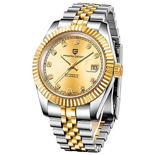 Luxury Business Gold Automatic Men Watch Classic Design Japanese Mechanical Movement Full Stainless Steel Sport Military Waterproof (Gold2)