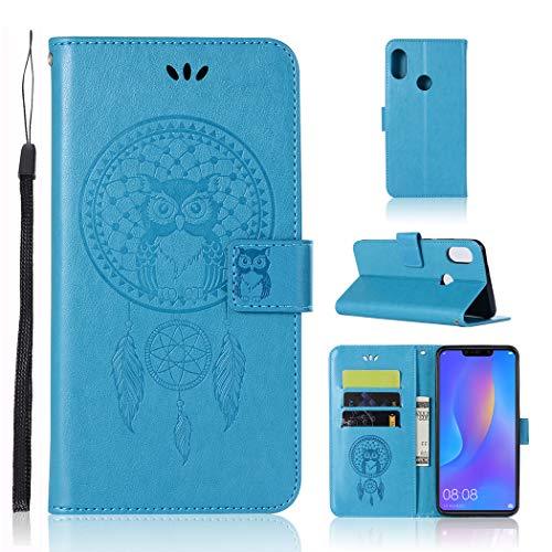 Zchen Coque Honor 8X, Coque Honor View 10 Lite, Etui Pochette PU Cuir Portefeuille Housse Clapet Folio Livre Pliable Couvercle Rabattable avec Stand pour Huawei Honor 8X (Hibou-Bleu)
