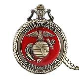Orologio da tasca Vintage United State Marine Corps Tema Tasca al quarzo Orologio da taschino Moda Rosso Souvenir Souvenir Collana Collana Catena Militare Guarda Top Regali Pocket Orologi vintage orol
