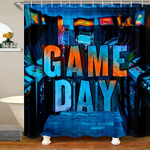 Loussiesd Kids Game Shower Curtain Retro Gamer Console Game Controller Fabric Bath Curtain For Boys Vintage Video Game Bathroom Shower Curtain Set Gaming Shower Curtains Stalls Blue 180x210cm