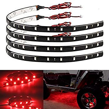 EverBright 4-Pack Red 30CM 5050 12-SMD DC 12V Flexible LED Strip Light Waterproof Car Motorcycles Decoration Light Interior Exterior Bulbs Vehicle DRL Day Running with Built-in 3M Tape
