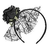 Diadema de rosas artificiales, diadema con corona floral, gasa para niñas, exquisita banda para el cabello, accesorios para disfraces para mujeres, niñas, fiesta de disfraces de Halloween