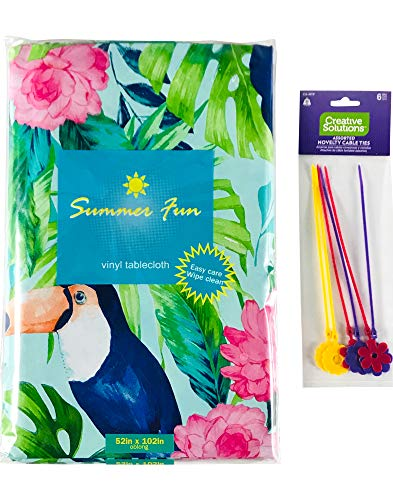 Summer Fun Vinyl Tablecloth: Toucan Bird in Lush Green Tropical Palms and Pink Flowers on Aqua Blue for Indoor or Outdoor Patio Party (52' x 52' Inch)