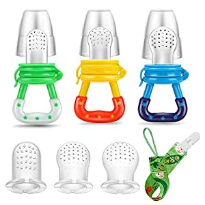 【100% SAFE】Our baby fruit feeders are made with certified premium 100% Food Grade Silicone that's BPA, PVC, Latex, Latex, Metals, Phthalate, Toxic and Rust free. Our feeders allow your baby to gum on solids long before teeth come in. Best of all, you...