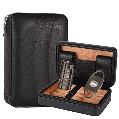 Cxjff Tragbare Zigarren-Humidor Box Travel Leder Zigarren Fall Zedernholz Zigarren Set W/Feuerzeug Zigarrenschneider-Halter, Silber (Color : Brown)