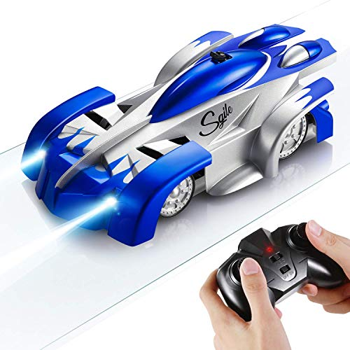 SGILE Auto Telecomandata, 4WD RC Auto con 360 Rotazione Scalatore, 2 modalità Wall/Floor e 4 Luci a LED, Auto Racer, Regalo di Natale per Bambini, Blu