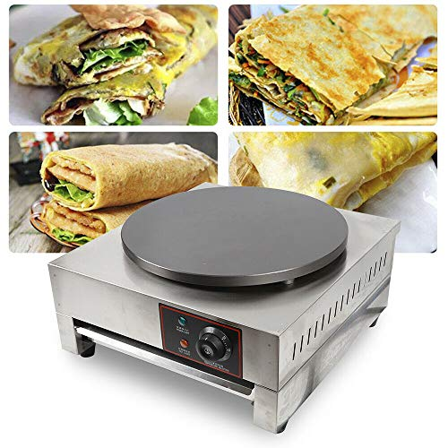 Crepe Maker and Non-Stick 16″ – Commercial Nonstick Electric Crepe Pan -Heating Panel 50-300℃- Use for Blintzes, Eggs, Pancakes and More