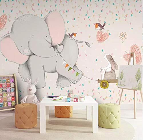3D VliestapeteKinder Tapete Mädchen Schlafzimmer Baby Zimmer Tapete Nahtlose Wand Tuch Cartoon Kindergarten Elefant Wandbild, 300 * 210