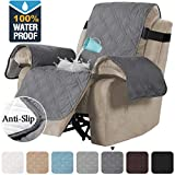 H.VERSAILTEX 100% Waterproof Quilted Recliner Chair Cover Recliner Cover Recliner Slipcover for Living Room, Secure with Elastic Strap and Non Slip Puppy Paw Silicone Backing (Oversized, Grey)