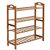 SONGMICS 4-Tier Shoe Rack, 100% Bamboo Entryway Shoe Shelf Storage Organizer, 30 Inch Wide Holds up to 12 Pairs, Ideal for Hallway Bathroom Garden, 26.6 x 10.3 x 29.4 Inches,Nature ULBS94N