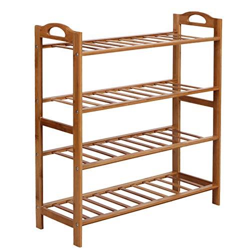 SONGMICS Bamboo Shoe Rack Shelf Storage Organizer for Hallway Bathroom Garden 4-tier Fresh Maple