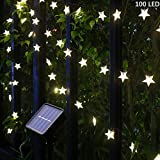 Solar String Lights, 55Ft 100 LED Solar Star String Lights Warm White Solar Powered Fairy Lights Outdoor 8 Modes Waterproof Festival Lighting for Garden Patio Yard Home Wedding Party Decoration