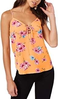 Hippie Rose Womens Juniors Lace-Up Floral Tank Top