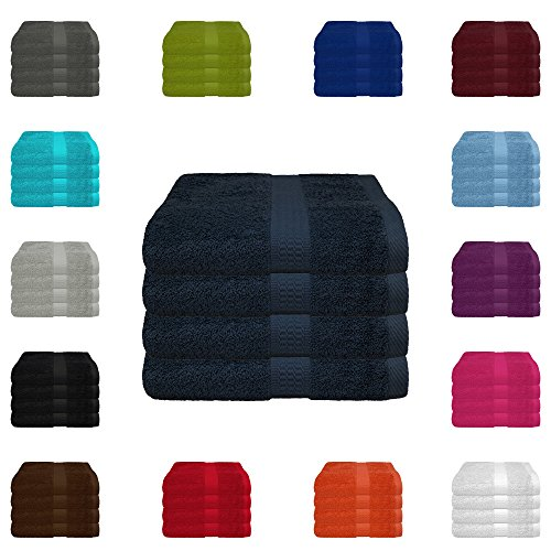 4 tlg. Handtuch-Set in vielen Farben - 4 Handtücher 50x100 cm - Farbe marine