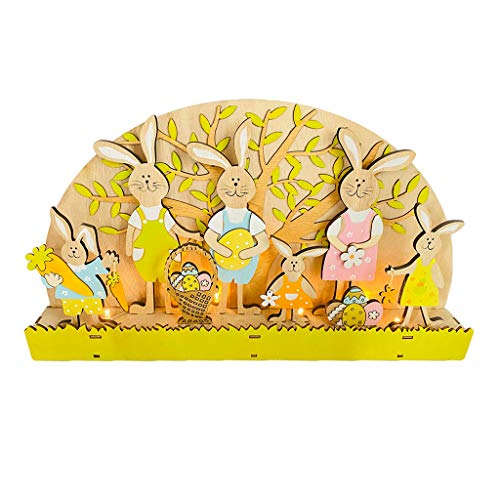 Sheuiossry Decoración de Pascua de madera de conejito Famliy con luz LED, adorno para el hogar, decoración de Pascua, para fiestas, cumpleaños, decoración del hogar, uso en interiores