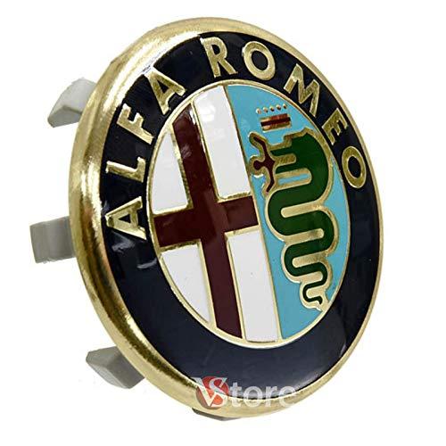 1 pieza Tapacubos 60 mm compatibles para llantas originales Alfa Romeo Giulietta 147 159 146 156 Brera Escudo Fregi Gold Oro