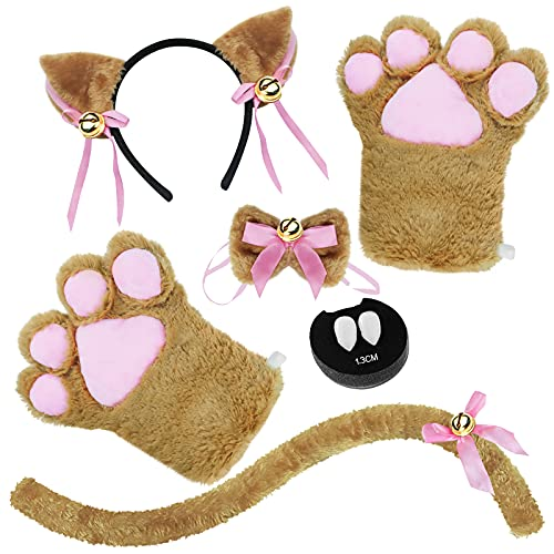 Abida Cat Cosplay Costume - 5 Pcs Cat Ear and Tail Set with Collar Paws Gloves and Vampire Teeth Fangs for Lolita Gothic Halloween-Brown