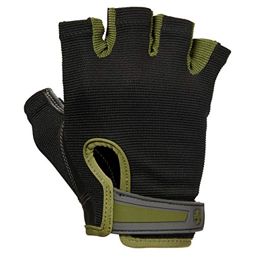 Harbinger Power Non-Wristwrap Weightlifting Gloves with StretchBack Mesh and Leather Palm (Pair), Green, X-Large (Fits 8.5 - 9.5 Inches)