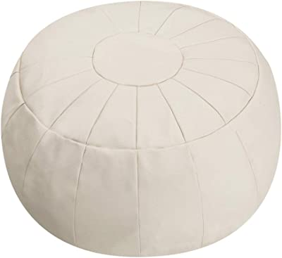 Rotot Decorative Pouf, Ottoman, Bean Bag Chair, Footstool, Foot Rest, Storage Solution or Wedding Gifts (Unstuffed) (Beige)