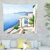 BTJC88 Aegean Sea Theme Tapiz – Aegean Sea estampado gótico exclusivo para decoración del hogar, blanco, 200 x 150 cm