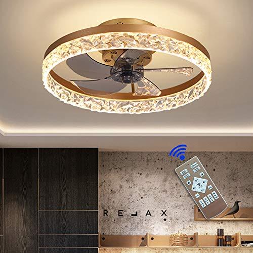 Ventilador de techo con mando a distancia, 50 cm, luz LED para habitación, dormitorio, oficina, 220 V