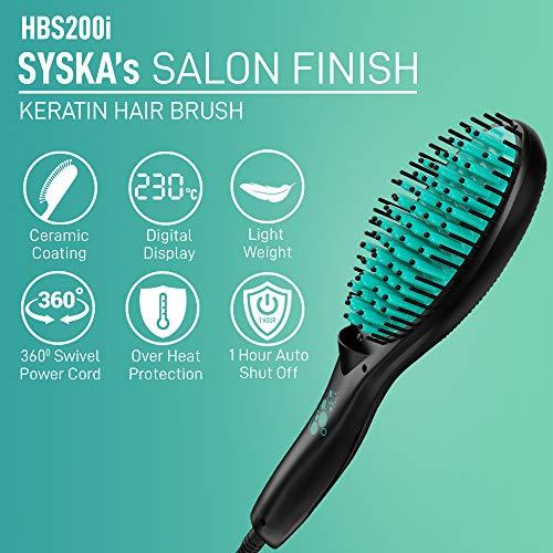 SYSKA HBS200i Hair Brush Straightener (Black)