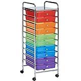 VonHaus–Carrito de almacenamiento con 10cajones para casa, oficina o salón, plástico, multicolor, 10 Drawer