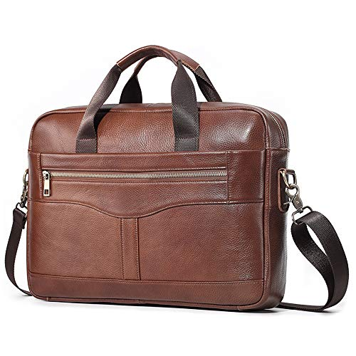 SPAHER Unisex Mens Women Briefcase Genuine Leather Shoulder Bag Laptop Handbag Messenger Computer Case Business Sling Crossbody Satchel School Rucksack 15 Inches Laptop Bag (Brown 617)