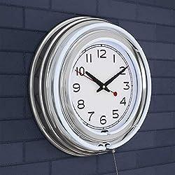 "Trademark Gameroom (White Neon Wall Clock-14"" Round, Double Light Ring, Dual Power, Analog Quartz Timepiece-Retro Décor for Bar, Garage & Game Room by Lavish Home, 14x14x3"