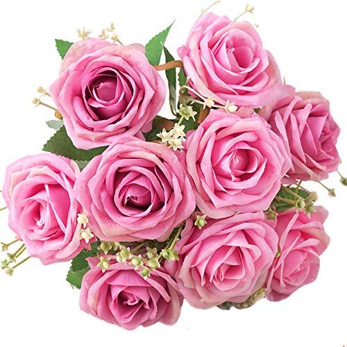 XONOR Rosas de Seda Artificial Flores Falso Nupcial Dama de Honor Ramo de Flores para la decoración del Banquete de Boda del jardín en casa, Cabeza 9, 31 cm (Rosado)