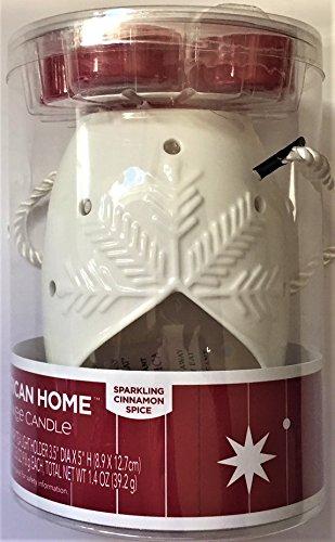 American Home Snowflake Luminary Tea Light Holder with Sparkling Cinnamon Spice Tea Lights