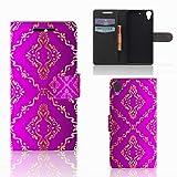 B2Ctelecom Schutzhülle passt für HTC Desire 628 Lederhülle Barok Roze
