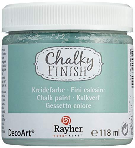 Rayher 38867408 Chalky Finish auf Wasser-Basis, Kreide-Farbe für Shabby-Chic-, Vintage- und Landhaus-Stil-Looks, 118 ml, mintgrün