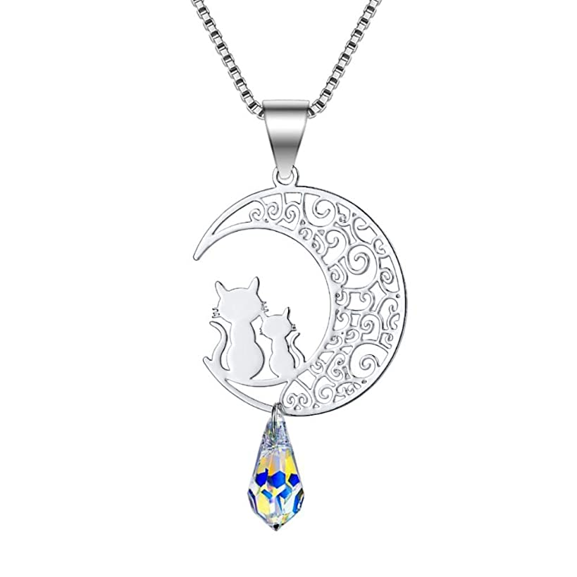 Sterling Silver Rose Gold Cat Moon Charms Pendant Necklace for Women