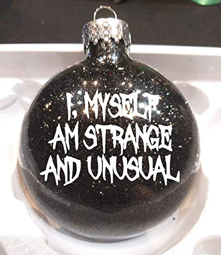 Merch Massacre Strange and Unusual Beetlejuice Black Glitter Horror Holiday Ornament Glass Disc