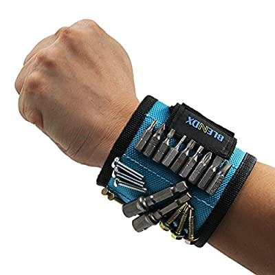 Magnetic Wristband, BLENDX Men Christmas Gifts Tool with Strong Magnets for Holding Screws, Nails, Drill Bits Cool Tools for Father's Day Gift for Him, Men, Husband, Dad, Guys, DIY-er
