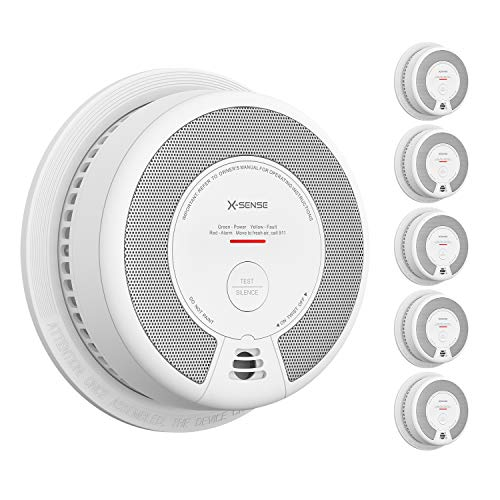 X-Sense Smoke Detector Alarm, 10 Years Battery-Operated Smoke and Fire Alarm with Photoelectric Sensor and Silence Button, SD06, 5-Pack