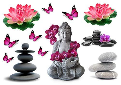 Stickers DECORATIFS Zen DETENTE Senteur Fleur BOUDHA Relaxation Papillon à découper (Planche à Stickers Dimensions 21x28cm en Papier ADHESIF Transparent)