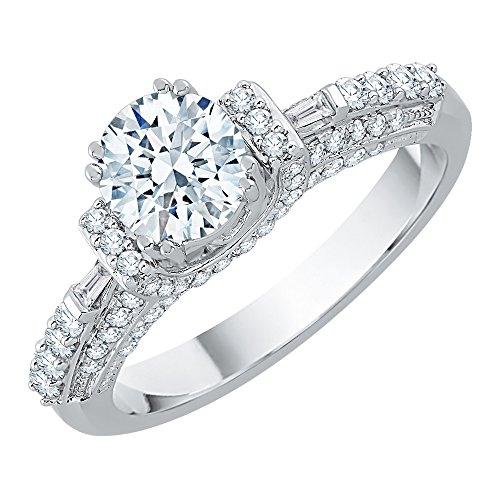 Anillo de compromiso estilo baguette y solitario redondo de diamantes en oro blanco de 14 k (1 1/4 quilates) (Color-JK, Claridad-SI2/I1) (Tamaño-9.25)