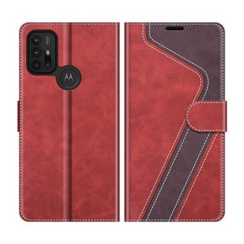 MOBESV Handyhülle für Motorola Moto G30 Hülle Leder, Motorola Moto G10 Klapphülle Handytasche Hülle für Motorola Moto G30 / Moto G10 Handy Hüllen, Modisch Rot