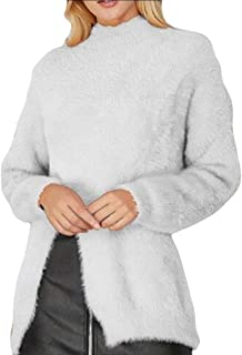 Womens Loose Tops Shirt Fuzzy Fleece Sherpa Long Sleeve Shearling Coat