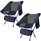 Upgraded 2 Pack Lightweight Folding Chair Outdoor Camping Chairs for Hiking Backpacking