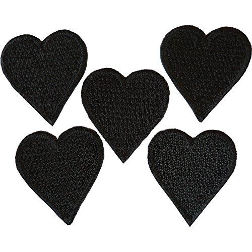 5tamaño pequeño negro amor corazón parches hierro parche insignia bordado coser en insignias