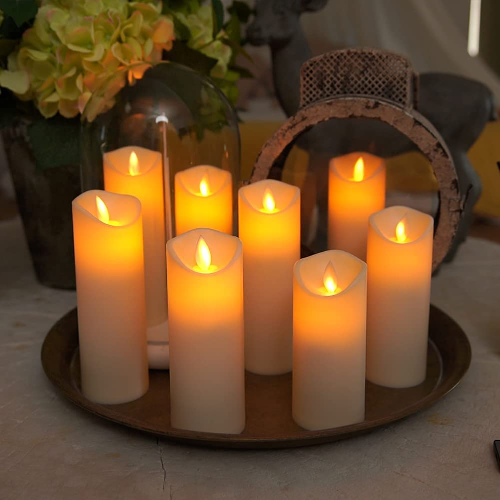 Homemory Flickering Flameless Candles, Moving Flame, Battery Operated LED Pillar Candles with Timer and Remote, Made of Wax-Like Frosted Plastic, Won't Melt, Ivory, Set of 8