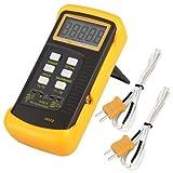 Signstek Digitales Thermometer mit 2K-Typ Thermoelement Sensor Sonde, orange, 9.00 voltsV